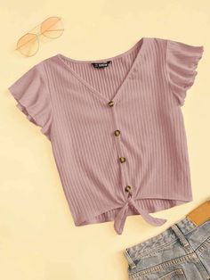 Ruffle Armhole Knot Hem Rib-knit Tee - Knot T Shirt - Ideas of Knot T Shirt - Ruffle Armhole Knot Hem Rib-knit Tee Crop Top Outfits, Cute Outfits, Neck Pattern, Western Outfits, Rib Knit, Knit Tie, Cute Shirts, Types Of Sleeves, Sleeve Styles