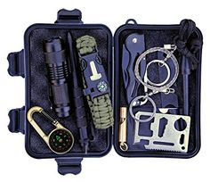 Tiber Flow 11 in 1 Emergency Survival Kit, Professional Outdoor Gear with Knife, Flashlight, Wire Saw, Tactical Pen, Saber Card, Compass, Whistle, 5 in 1 Bracelet for Camping, Hiking, Hunting, Travel