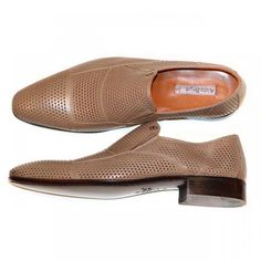 Aldo Brue - 416 Perforated Cap Toe Loafer - Taupe | PelleLine.com