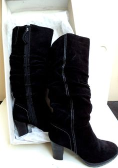 de39aa6c87a6 Women s Size 9.5 Black Mira Suede riding boots Western look with Flair Sexy  NIB… Western