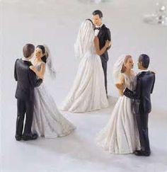 Interchangable Interracial Bride And Groom Cake Toppers  Wedding