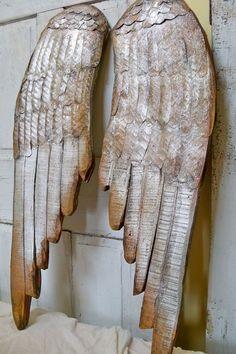 Large wood angel wings wall sculpture metallic by AnitaSperoDesign