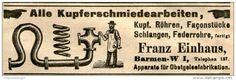 Original-Werbung/ Anzeige 1906 - KUPFERSCHMIEDEARBEITEN / FRANZ EINHAUS BARMEN - ca. 100 x 30 mm