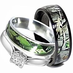 His hers 4 pc black stainless steel titanium wedding engagement