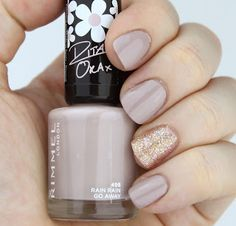 Nail Swatch: Rimmel 60 Seconds Rita Ora Nail Polish in 498 Rain Rain Go Away with Butter London 3 Free Nail Lacquer in Tart With A Heart accent nail.