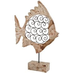 Found it at Wayfair.ca - Voluta Iron Scroll Wood Fish on Stand Statue