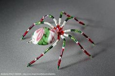 Red Green and White Lampwork Holiday Christmas Spider Beaded