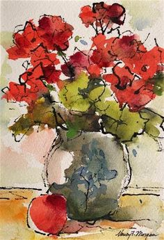 "Daily Paintworks - ""Geraniums With Apple"" - Original Fine Art for Sale - © Nancy F. Morgan"