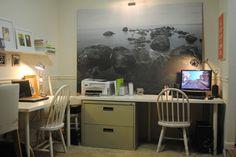 Filing cabinet desk + large graphic print. #office #organization