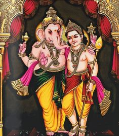 Ganesha with Murugan Ganesh Lord, Shri Ganesh, Ganesha Art, Lord Krishna, Happy Ganesh Chaturthi Images, Shiva Parvati Images, Lord Murugan Wallpapers, Ganesh Photo, Lord Ganesha Paintings