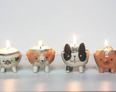 Ceramic Dogs Candle Holder/ Dogs Candle Bowl/ Handmade Ceramic Dogs/ Ceramic Tealight Holder