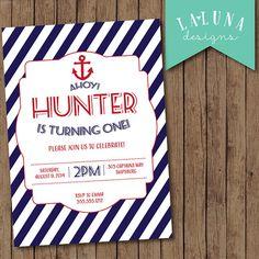Nautical Birthday Invitation, Nautical Birthday Party, Anchor Birthday Invite