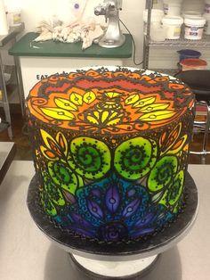 Stained Glass Mandala Cake: airbrush on buttercream, buttercream piping