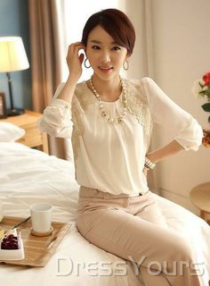 Stunning Korean Style Loose Long Sleeves Large Size  Lace Blouse