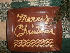 Redware Merry Christmas rectangular unique plate-signed