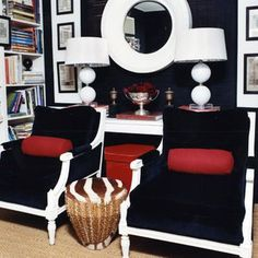 Example of chairs painted white with navy upholstery.