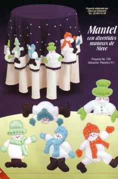 Mantel de fieltro divertidos muñecos de nieve  40 bs