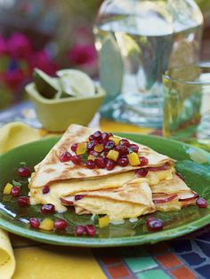 pomegranate, gouda and pear quesadillas . YUM.