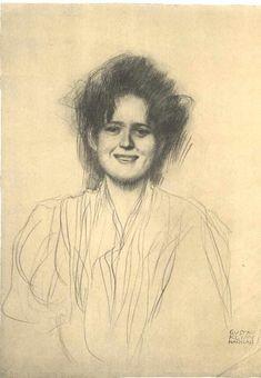"""Half-Length Portrait of a LaughingGirl"", Gustav Klimt."