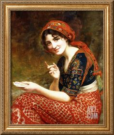 The Fortune Teller, 1899 Giclee Print by William Clarke Wontner Vintage Gypsy, Vintage Witch, Vintage Circus, Fortune Teller Costume, Gypsy Fortune Teller, Gypsy Women, Fortune Telling, Arabian Nights, A4 Poster