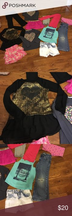 Super cute 12 piece lot of girls Sz 6/7 Justice, old navy, and others brands. All good condition. All size 6/7. Includes 5 shirts, 4 pants, 3 skirts/shorts. Super cute deal! Justice Other