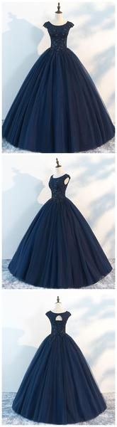 Navy Cap Sleeves Ball Gown Tulle Cheap Long Evening Prom Dresses, Custom Dresses, 18410 Any further questions, just feel free to contact with us Cheap Prom Dresses, Prom Party Dresses, Trendy Dresses, Nice Dresses, Fashion Dresses, Dress Party, Homecoming Dresses, Wedding Dresses, Gowns With Sleeves