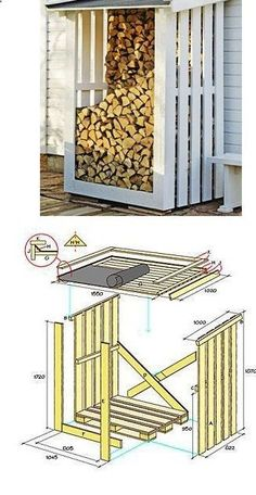 Shed Plans - Leñera con suelo de tarima y los lados de palets - Woodshed, pallet floor, pallet sides Plus - Now You Can Build ANY Shed In A Weekend Even If You've Zero Woodworking Experience!