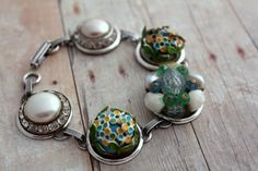 Green Blue Pearl Bracelet Granny Chic Eco Chic by belmonili