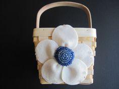 Flower Girl Basket Wedding  Ivory Blue posey flower choose custom colors  by ArtisanFeltStudio, $26.00