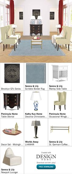 Created with Design Home! Border Rugs, Chinoiserie, Indoor, House Design, Create, Table, Home, Decor, Interior