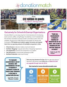 DonationMatch for school and nonprofit events one-sheet + discount. Expires 6/30/16