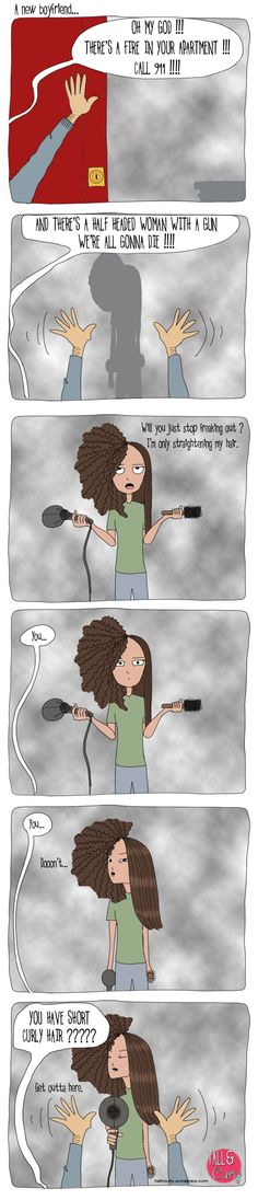 """This is a hilarious comic strip about natural hair. Enjoy! """"Let's get this straight"""" by Tall N Curly"""