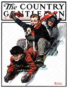 """Downhill Daring"" or ""Freedom from Want"" By Norman Rockwell. Issue: December 27, 1919. ©SEPS."