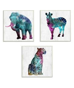 Look at this Animal Watercolors Wall Art Set on #zulily today!