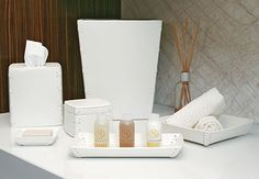 room360 Milan White Faux Leather:  t'cover, jar, trays, wastecan
