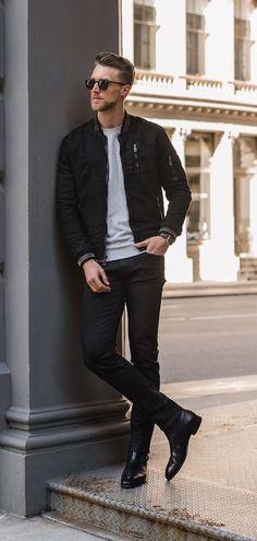 Black Bomber,Black Denim Outfit for men Black Denim Jacket Outfit, Black Corduroy Jacket, Black Outfit Men, Bomber Jacket Outfit, Black Bomber Jacket, Bomber Jackets, Stylish Jackets, Cool Jackets For Guys, Mens Clothing Styles