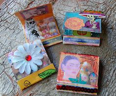 I love how other artist can make something from nothing too. its just so fun and stuff like this make amazing personal gifts. Also frida kahlo always good.Matchboxs shrines I made for Dia de los Muertos.