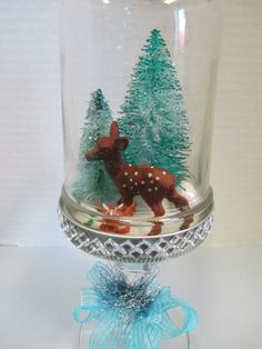 Christmas Owls, Christmas Themes, Holiday Decor, Blue Ribbon, Ribbon Bows, Bottle Brush Trees, Candlesticks, Snow Globes, Mason Jars
