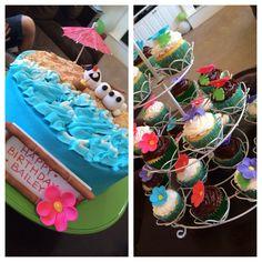 Olaf Summer Luau cake and cupcakes!!