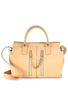 Chloe Cate Medium Smooth and Pebbled Leather Satchel