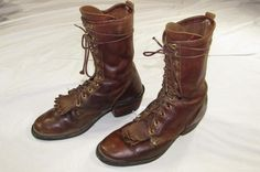 J. Chisholm USA Made Leather Work Roper Boots 8 D Cowboy Western Nice! #JChisholm #CowboyWestern