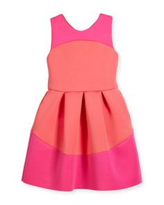 Sleeveless Pleated Two-Tone Scuba Dress, Coral/Pink, Size 7-16