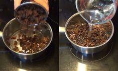 Postup Nejprve nasypeme šálek kvalitních černých rozinek do hrnce a třikrát je propláchneme vodou – rozinky vždy ponoříme na 5 sekund do vody a poté vodu slejeme. Rozinky musejí být čisté. Poté rozinky zhruba 2 minuty povaříme a ve stejné vodě je necháme následujících 24hodin. Další den ráno tento zázračný čisticí prostředekna lačno sníme –