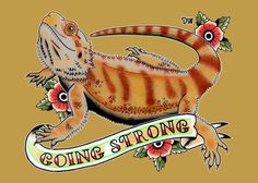 Reptile Greeting Card featuring the drawing Going Strong Bearded Dragon by Donovan Winterberg