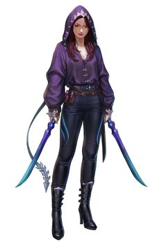 """f Tiefling Rogue Assassin Leather Armor Cloak Dual Swords poison urban city we-are-rogue: """" Assassin by Kim SunHong """" Superhero Costumes Female, Superhero Characters, Girls Characters, Female Characters, Female Character Design, Character Design Inspiration, Character Art, Super Hero Outfits, Super Hero Costumes"""