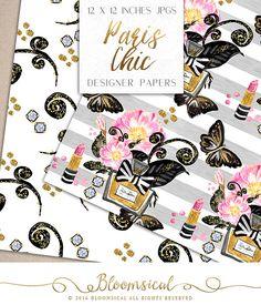 Paris Chic Digital Papiere Make-up Parfum von Bloomsical auf Etsy