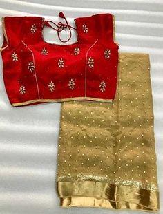 Pearl Georgette saree with stitched blouse. Chiffon Saree, Saree Dress, Georgette Sarees, Banaras Sarees, Kota Sarees, Sari Blouse, Cotton Saree, Lehenga Choli, Kurti