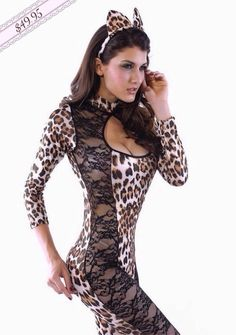 sexy feline leopard cheetah one piece catsuit lace cut outs costumecosplay 8552 - Halloween Costume Playboy Bunny