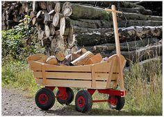 Traditional Slatted Pull-Along Wooden Cart, use the axles from the old wagon.