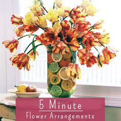 Tulips or any other brightly coloured flower will work  - Cut the stems so the blooms will tumble over the edge of the cup. Fruity Float Add color below the vase line to complement the single-tone flowers above. -- Fill a vase with water. -- Drop handfuls of sliced lemon, lime, orange, cherries, or cranberries into the vase. -- Place flowers in vase, adding more fruit if needed to hide the stems.